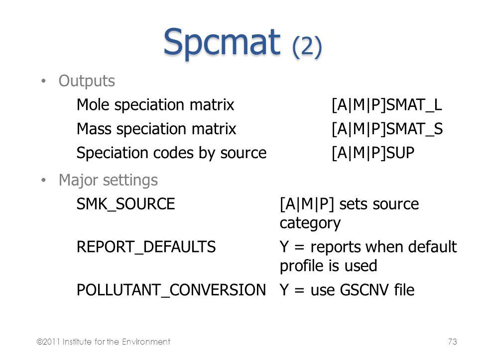 Spcmat (2) Outputs Mole speciation matrix [A|M|P]SMAT_L